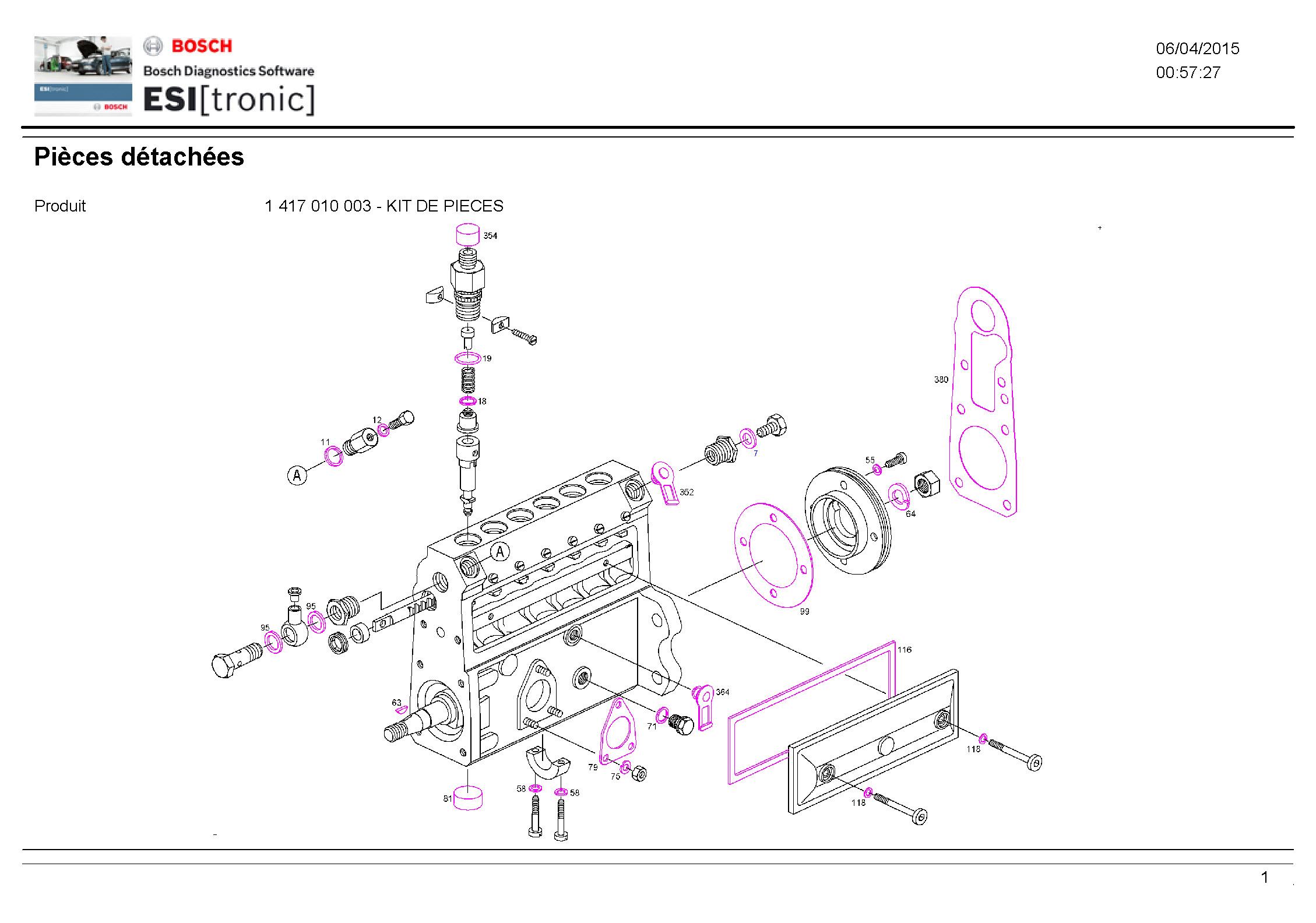 pochette de joint pompe bosch pe s 6 a d s 1000. Black Bedroom Furniture Sets. Home Design Ideas