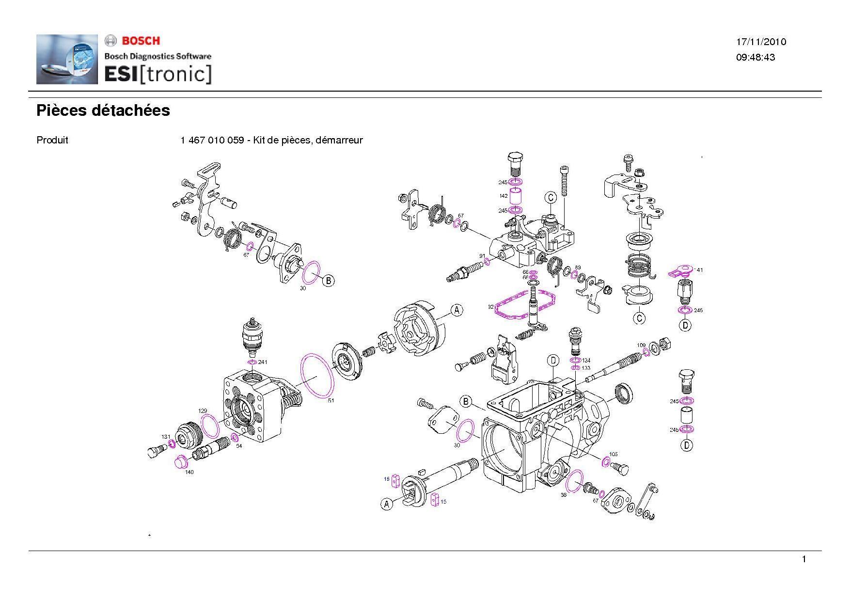 pochette de joint pompe injection bosch 1467010059. Black Bedroom Furniture Sets. Home Design Ideas